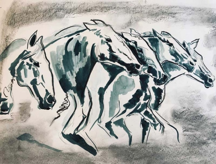 Pferde Bilder malen lassen | Das Atelier Schwyz